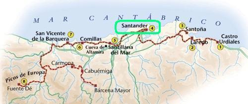 Mapa De Santander España.Cantabria Santander