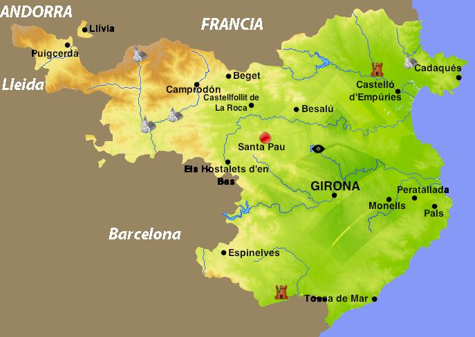 Pueblos De Gerona Mapa.Gerona Santa Pau