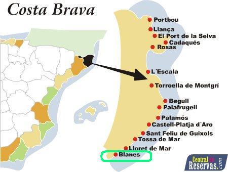 Pueblos De Gerona Mapa.Gerona Blanes
