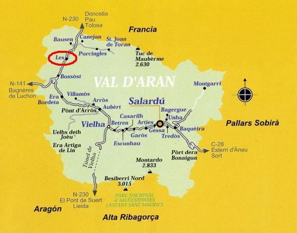 Turistico Valle De Aran Mapa.Lerida Les